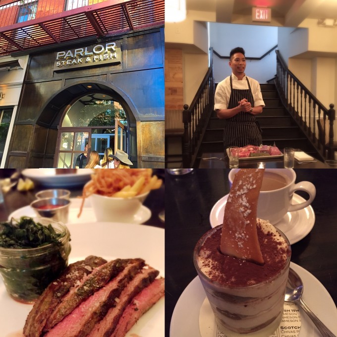 A collage photo of food and a chef speaking at Parlor Steakhouse in NYC