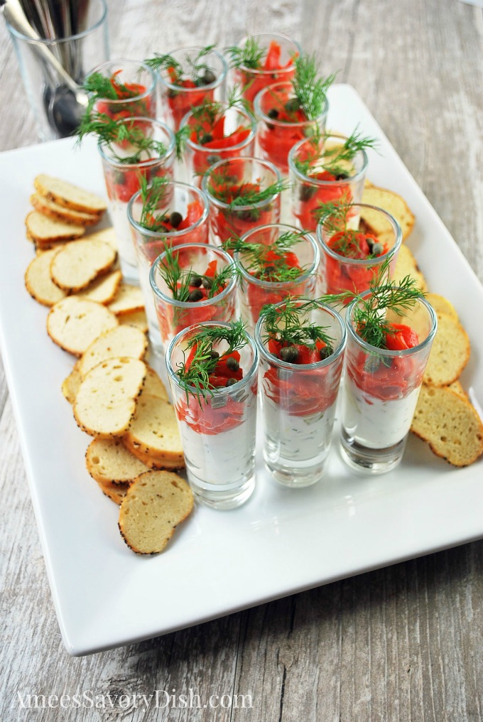 Smoked Salmon Shooters recipe for an elegant party appetizer idea