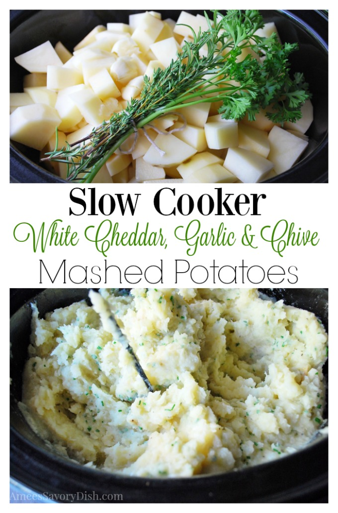 Slow cooker white cheddar, garlic and chive mashed potatoes