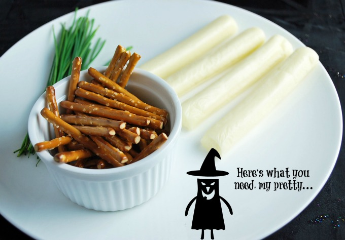 Halloween Cheesy witches pretzel broomstick ingredients