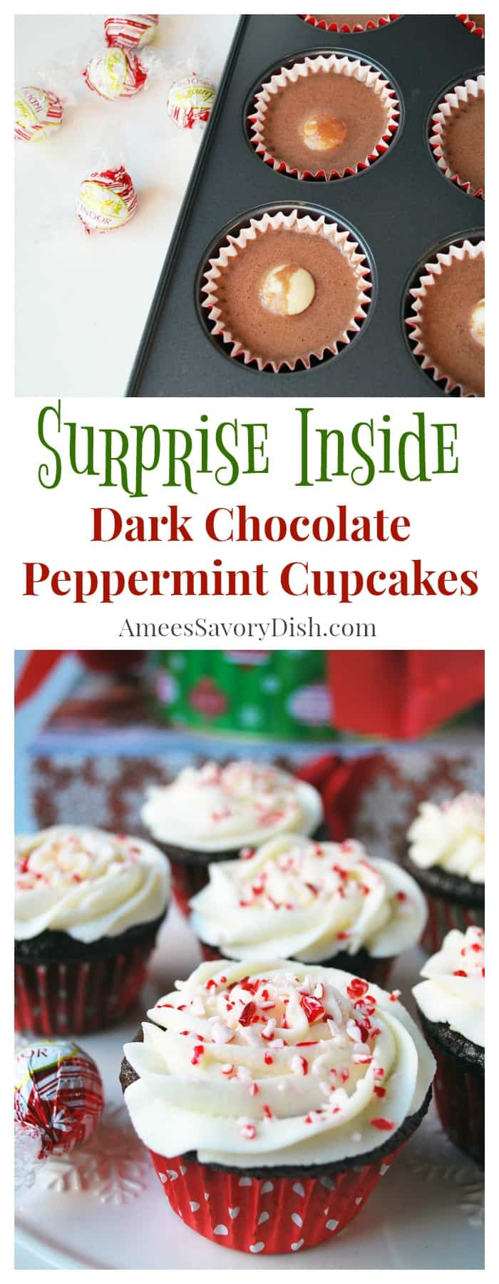 These moist Dark Chocolate Peppermint Cupcakes with peppermint buttercream frosting are the only chocolate cupcake recipe you need this holiday season!   via @Ameessavorydish