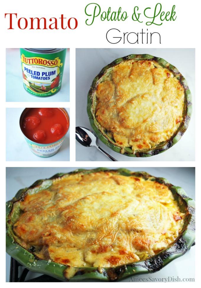 Potato Gratin Recipe with leeks and tomatoes