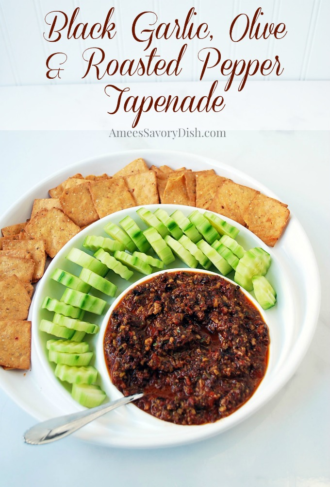 "This amazing olive spread with black garlic and roasted peppers aka. ""tapenade"" is made with dense and flavorful black garlic that adds a rich and intense flavor to this unique appetizer."