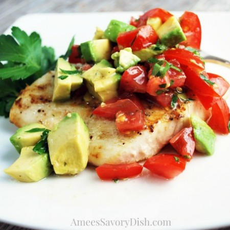 Halibut with Avocado Relish plate