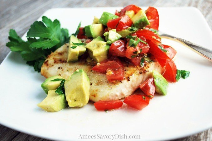 Grilled Halibut with Tomato Avocado Relish