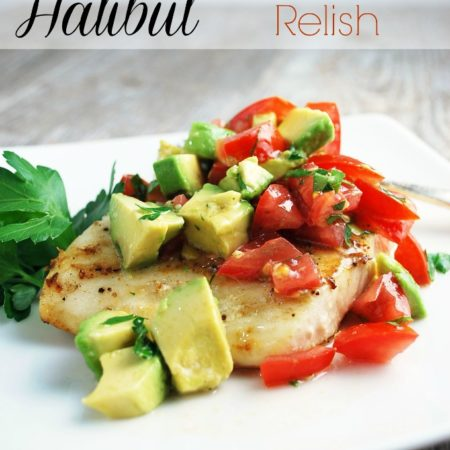 grilled halibut pin with fish plated with fresh herbs
