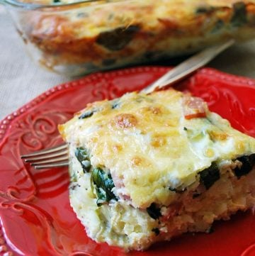 Healthy Hashbrown casserole on a plate with fork