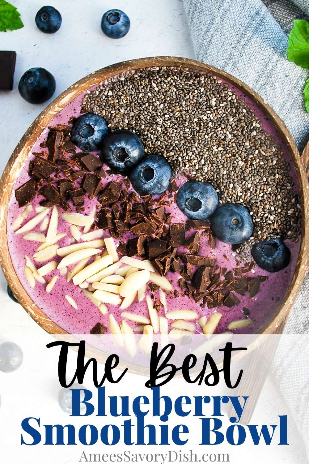 This Blueberry Smoothie Bowl recipe makes a thick and tasty smoothie bowl with banana, protein powder, yogurt, blueberry juice, and plenty of blueberries. This sweet treat is the perfect antioxidant and protein-packed healthy breakfast. via @Ameessavorydish