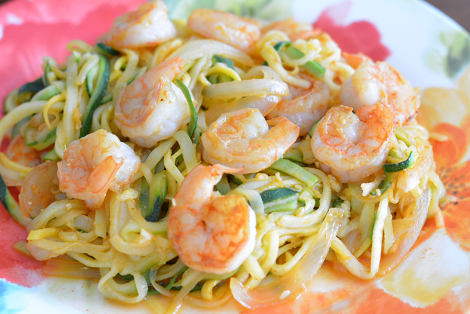 sriracha shrimp zoodles