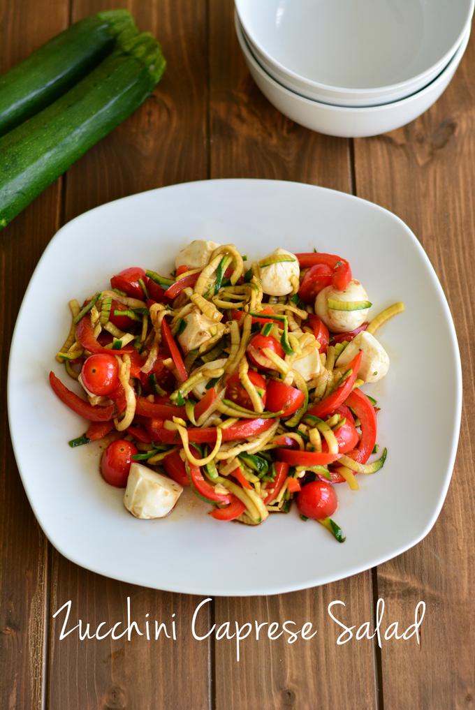 zucchini caprese on a white plate
