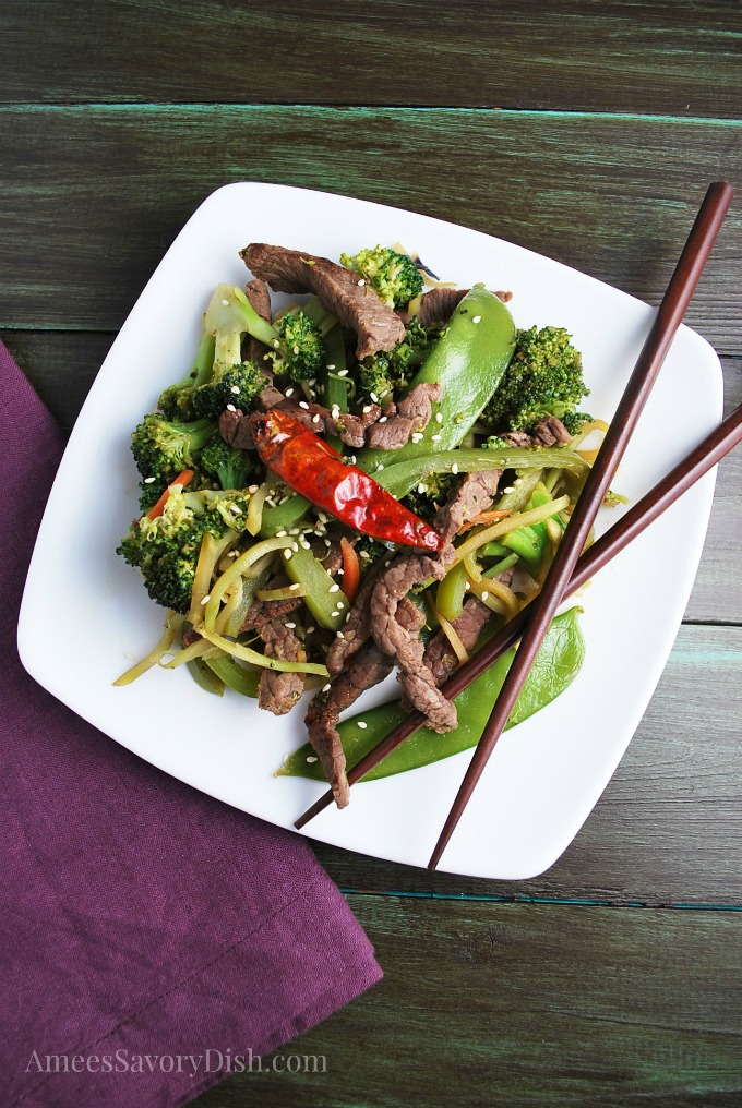 Beef Stir-Fry on a plate with chopsticks