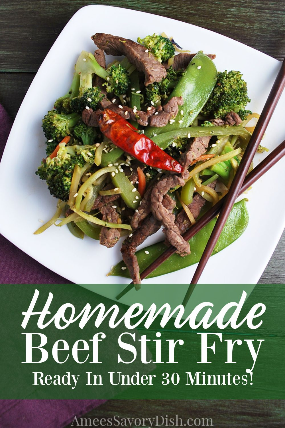 An easy and flavorful recipe for beef stir fry made with top sirloin beef, broccoli, snow peas, bell peppers, and carrots and on the table in under 30 minutes. #stirfry #beefstirfry #beefrecipe #topsirloinbeef #stirfryvegetables via @Ameessavorydish