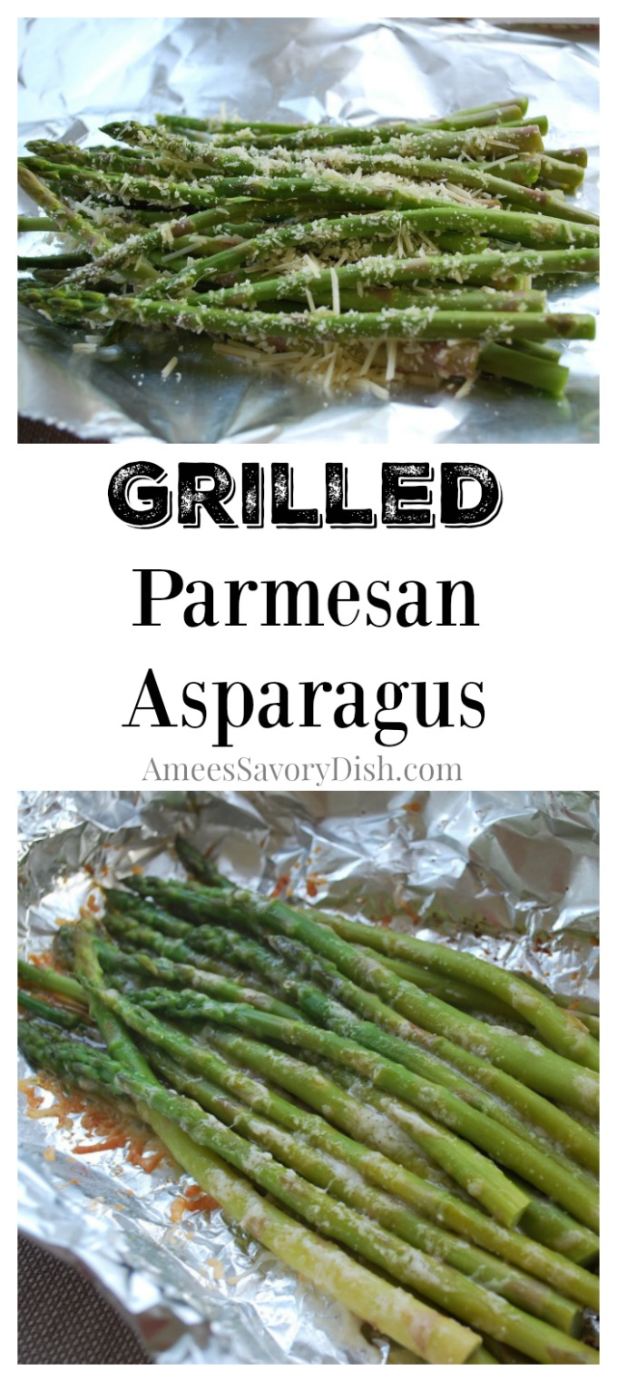 Collage photo with asparagus in foil and text description for Pinterest