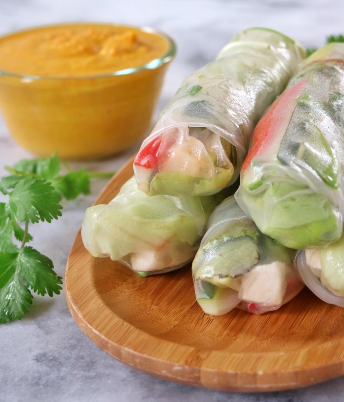 Spring Rolls With Carrot-Ginger Dipping Sauce Recipe — Dishmaps