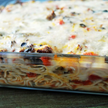 pan of freshly baked spaghetti casserole with beef