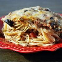 A close up of spaghetti casserole on a plate