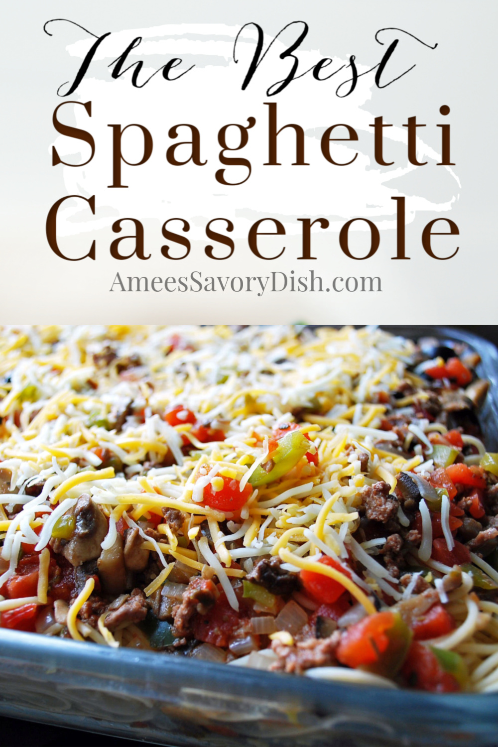 A family favorite recipe for baked spaghetti casserole made with whole grain pasta, sharp white cheddar cheese, lean ground beef, peppers, mushrooms, and spices. Easy and SO delicious! #bakedspaghetti #spaghetticasserole #beefcasserole #casserolerecipe via @Ameecooks