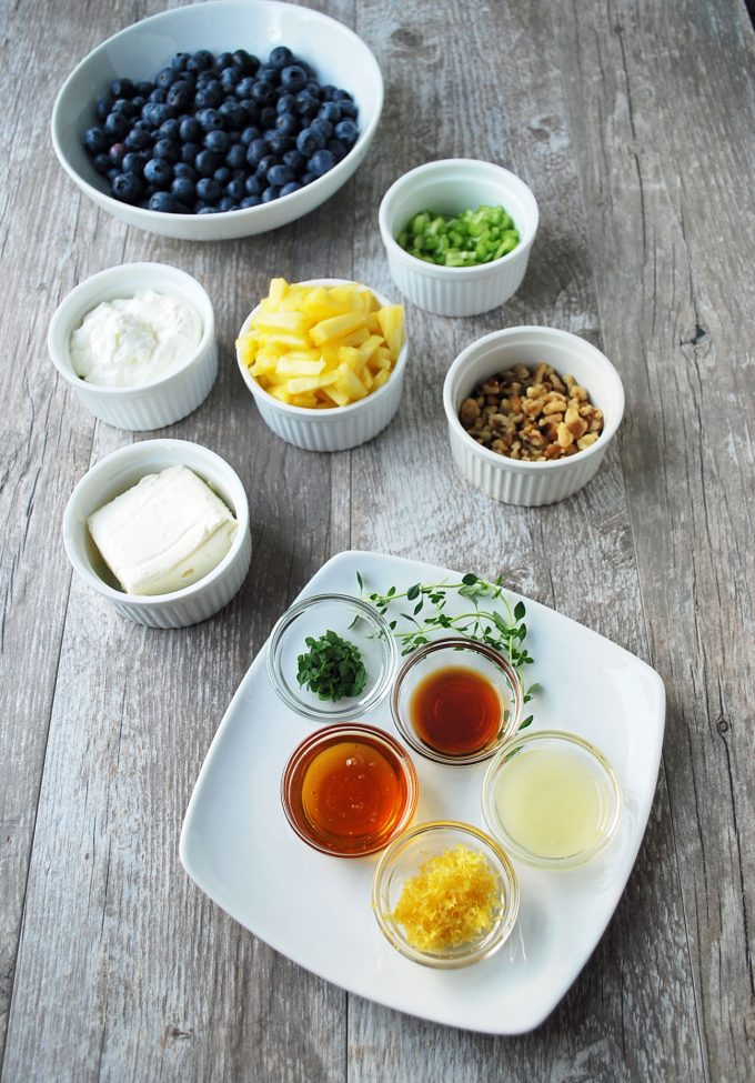 Blueberry salad ingredients