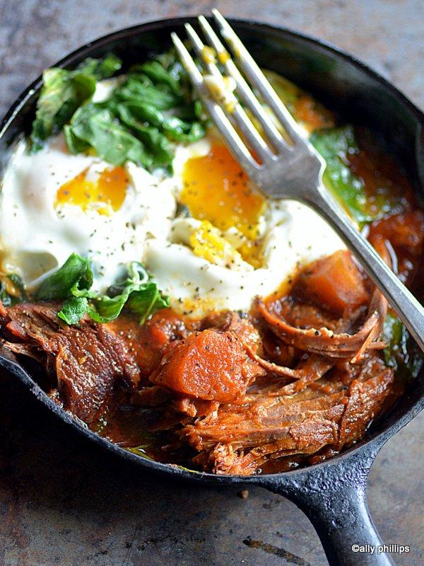beef roast and eggs