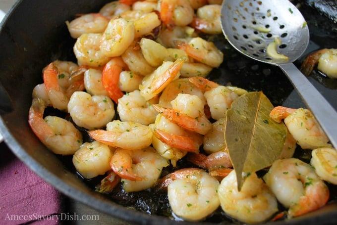 Spanish Style Garlic Shrimp tapas in the pan