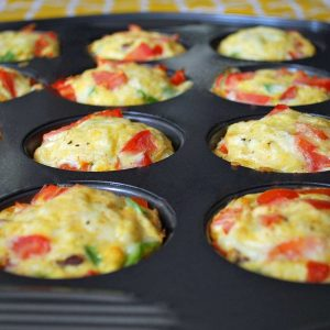 egg muffins freshly baked in a muffin pan
