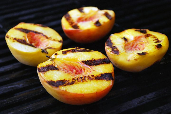 peach halves on the grill