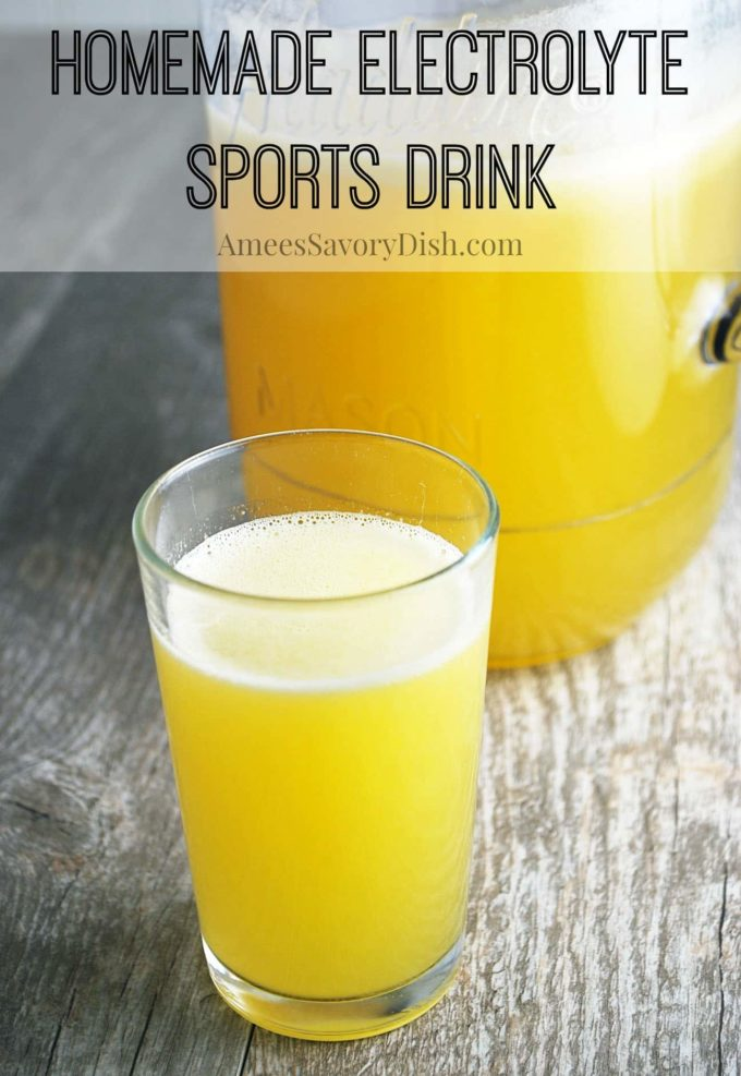 You'll love this simple homemade electrolyte sports drink recipe made with fresh squeezed orange juice, maple syrup and salt. via @Ameessavorydish