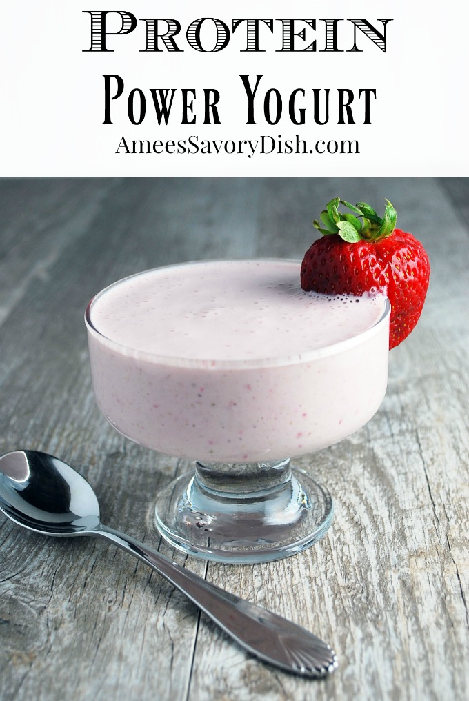 Protein power yogurt is a protein-packed breakfast or snack made with Greek yogurt, fresh fruit, ground flaxseed, and whey protein powder. #proteinsnacks #proteinrecipes via @Ameessavorydish
