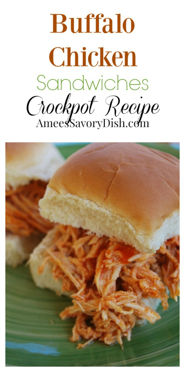 Five minutes of prep is all you need to make these delicious buffalo chicken sandwiches in the slow cooker using frozen boneless chicken breasts. via @Ameecooks