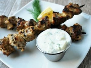Greek yogurt chicken skewers