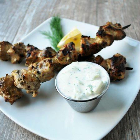 Greek yogurt chicken skewers