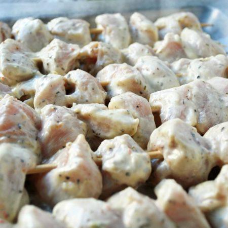 Yogurt marinated chicken skewers