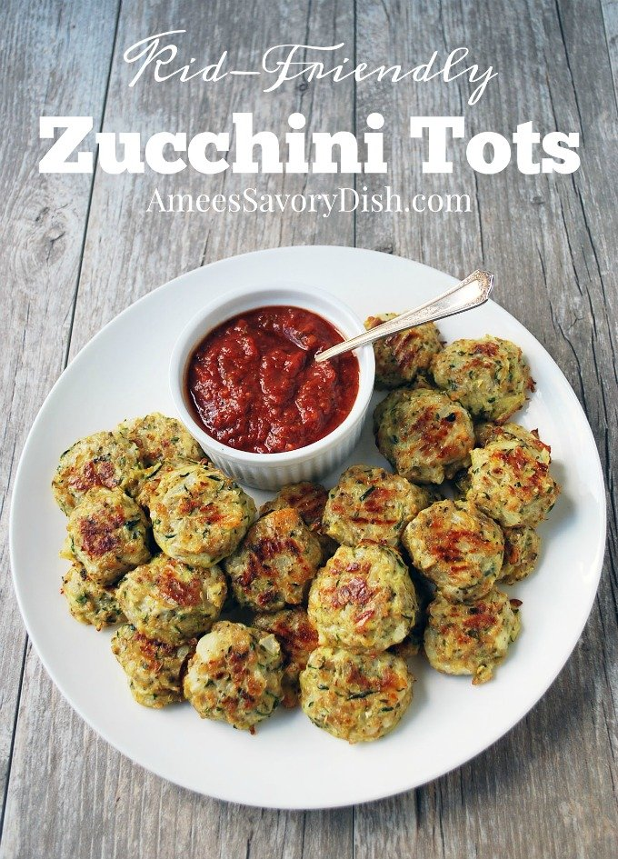 A kid-friendly recipe for zucchini tots, a healthy variation of tater tots and cheese sticks. Recipe from the Natural Baby Food cookbook. via @Ameecooks