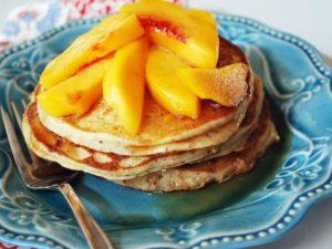 Gluten Free Protein Pancakes with Peaches