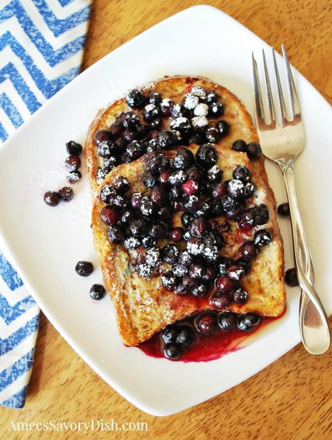 This healthy French toast recipe is made with egg whites and sprouted grain bread for a delicious protein-packed breakfast.
