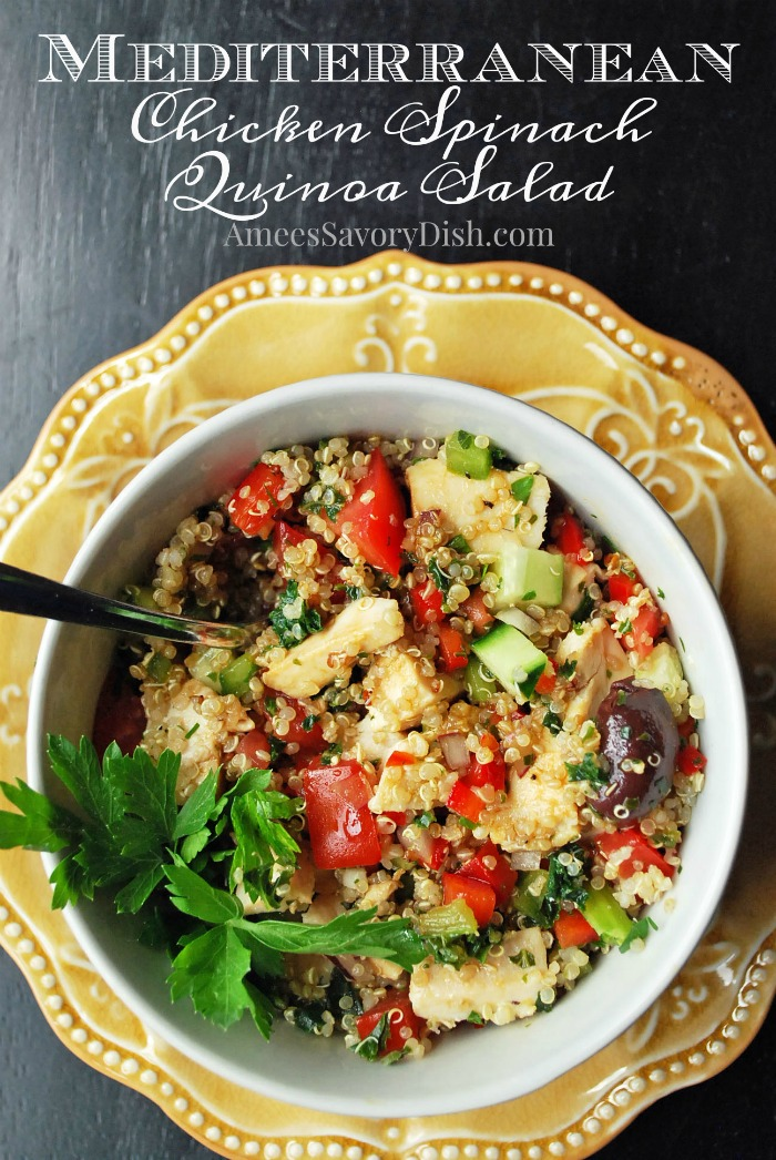 Mediterranean Chicken Spinach Quinoa Salad is a quinoa grain bowl made with sauteed spinach, chicken, vegetables, and feta cheese topped with a balsamic vinaigrette dressing. #grainbowl #chickengrainbowl #quinoabowl #chickenrecipe #glutenfreedinners via @Ameessavorydish