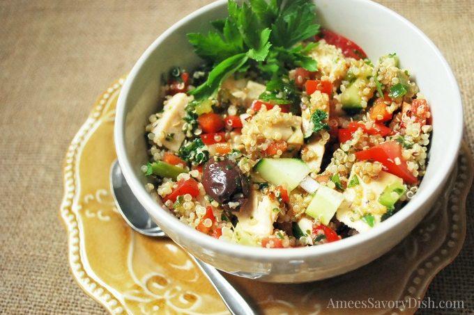 Mediterranean Chicken Spinach Quinoa Salad
