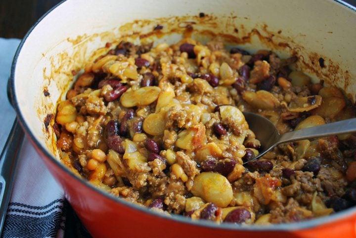 Roosevelt bean recipe prepared in dutch oven ready to serve