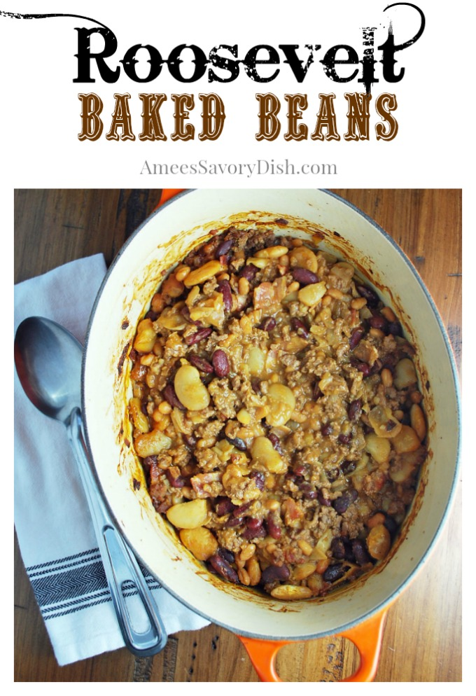 These baked beans with ground beef and bacon are seriously the best baked beans you'll ever eat!! It's an adapted version of the Roosevelt Baked Bean recipe from Yellowstone National Park's Old West Dinner Cookout.