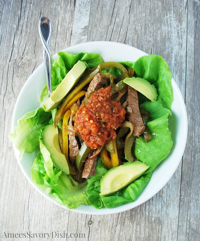 Beef Fajita Salad Bowl Recipe watermark