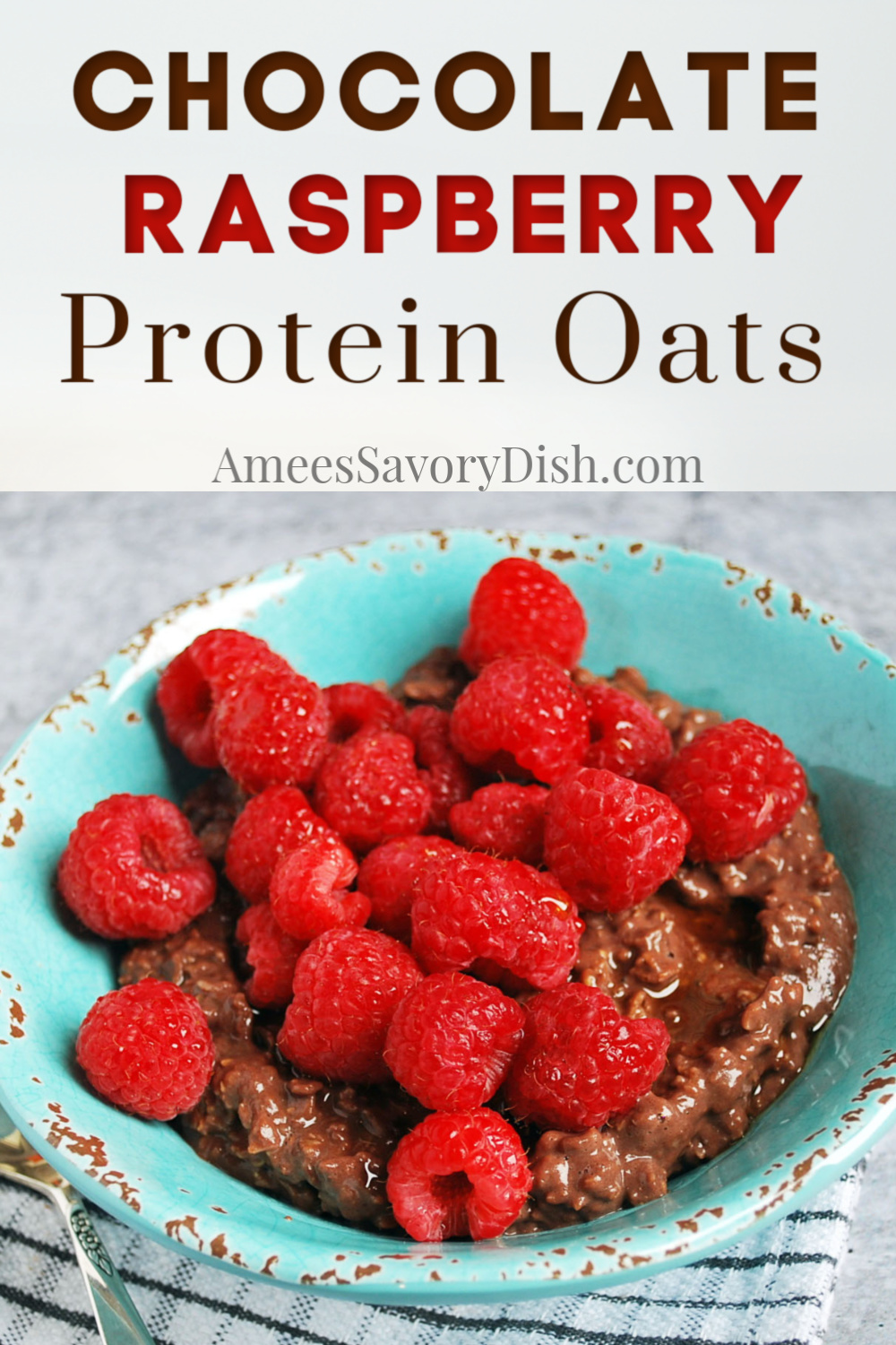 A simple recipe for chocolate raspberry protein oats made with quick oats, protein powder, almond milk, ground flaxseed, and fresh berries.  These oats and whey make the perfect breakfast on-the-go ready in under 5 minutes.  #oatsandwhey #proteinporridge #proteinoats #proteinoatmeal #breakfast #oatmeal via @Ameessavorydish