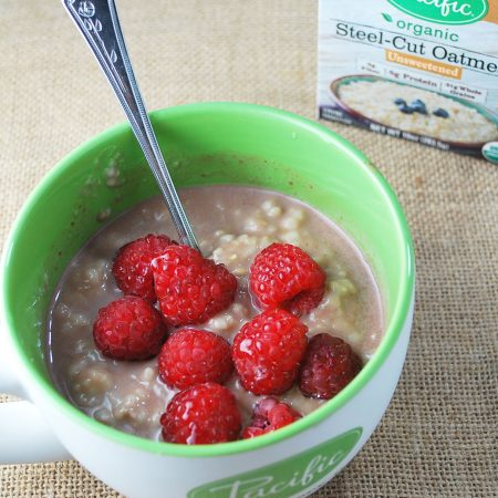 Chocolate raspberry protein oats