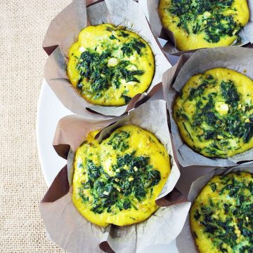 overhead shot of plate of frittatas in muffins cups