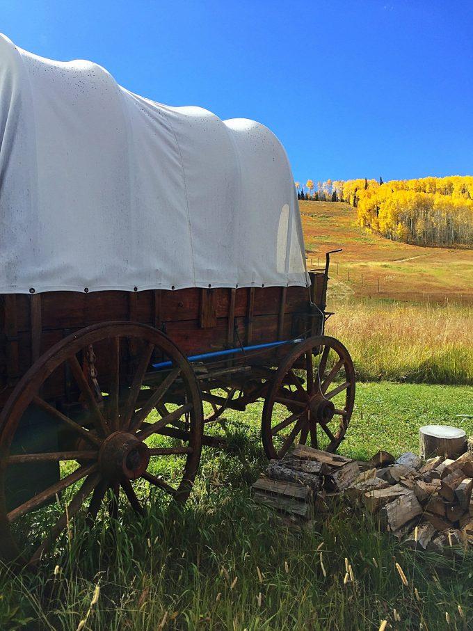 Wagon at Lynn Britt Cabin