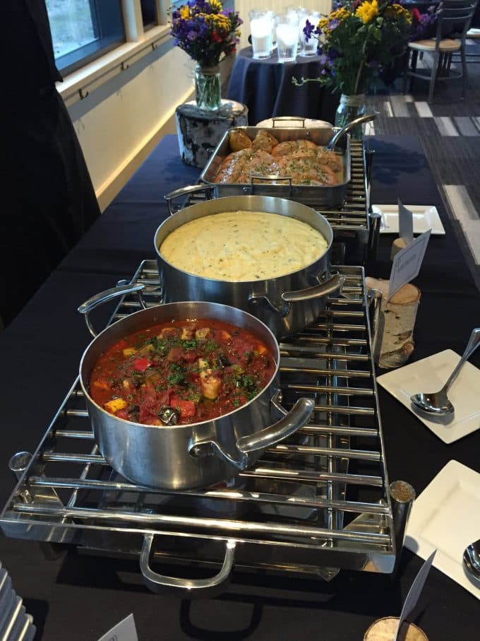 Buffet with pots of food
