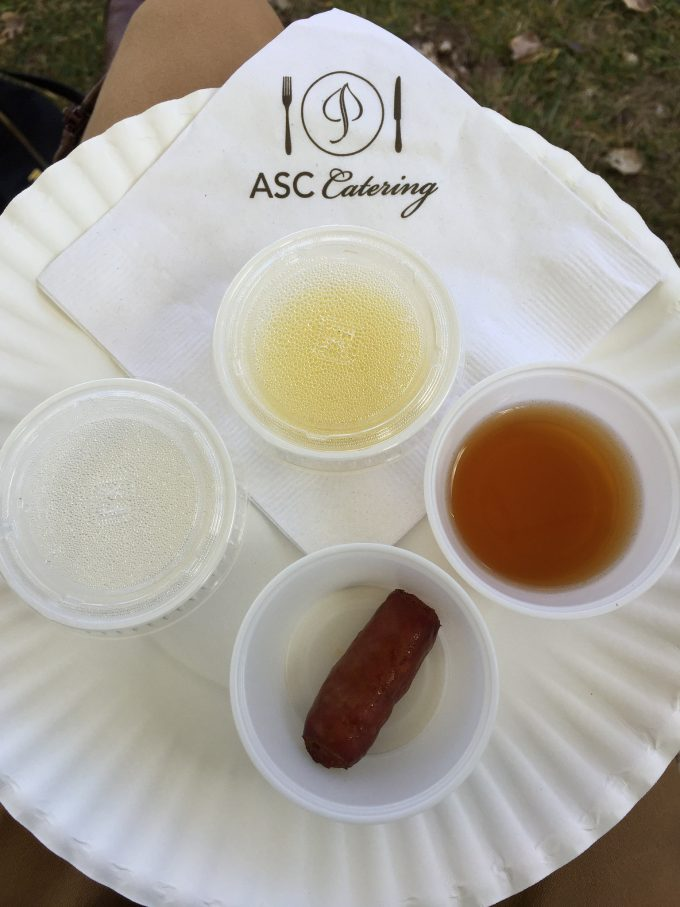 samples of food on a paper plate