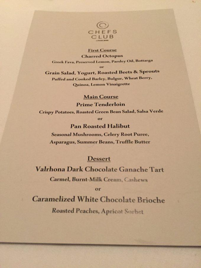 Chef's Club menu