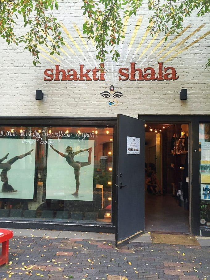 Shakti Shala sign on the side of a building