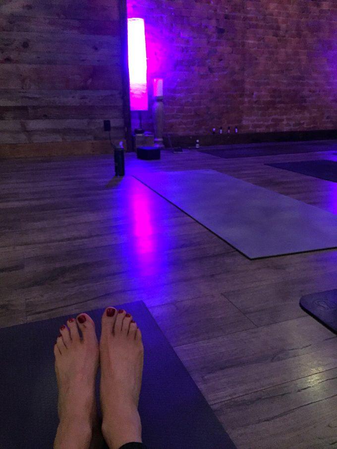 Yoga mats in a dark room