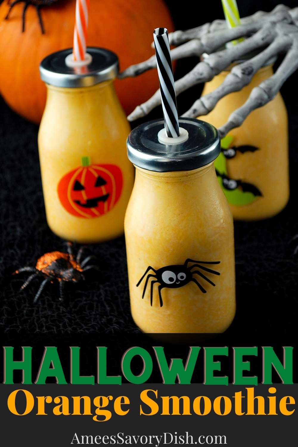 This orange healthy Halloween Smoothie recipe blends together fresh orange juice with Greek yogurt, protein powder, and frozen pineapple to make a healthy and refreshing fall drink. via @Ameessavorydish